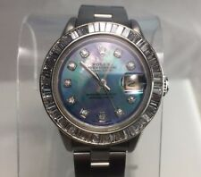 Estate Rolex Datejust Mother of Pearl Diamond Dial Diamond Bezel Ladies Watch