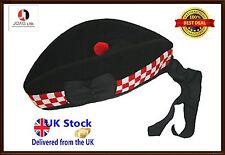 100% Pure Wool Glengarry Bonnet Hat Diced Scottish Piper plus Glengarry Hat