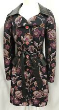Dolce & Gabbana Black with Pink and Orange Flowers Belted Trench Coat M