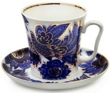 12 fl oz Imperial Porcelain Mug Teacup Saucer Lomonosov LFZ Blue Birds Art