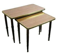 Two 2 Vintage Wood Teak  Veneer Nesting Side Tables  Mid Century Modern HTF