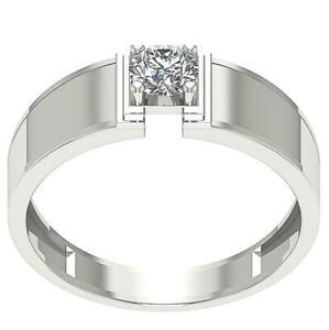 Mens Solitaire Engagement Ring SI1 G 0.50 Carat Round Cut Diamond 14K White Gold