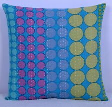 "16"" VINTAGE KANTHA CUSHION COVER POLKA DOT PRINTED DECOR PILLOW INDIAN TEXTILE"