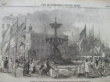 ANTIQUE PRINT DATED 1846 THE ILLUSTRATED LONDON NEWS BRIGHTON VICTORIA FOUNTAIN