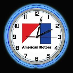 "19"" American Motors Sign Double Neon Clock Chrome Blue Neon AMC Man Cave"
