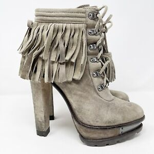 """Brian Atwood 6"""" Ultra High Heel Gray Taupe TEMPESTA Fringe Ankle Boots US 9"""