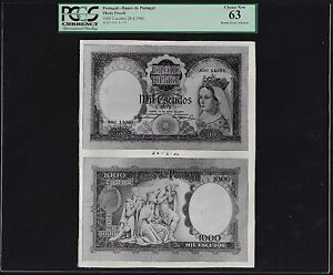 Portugal Face & Back 1000 Escudos  28-4-1960 Photograph Proof  Uncirculated