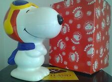 "Vintage Peanuts Snoopy ""Flying Ace""  Denz Ceramic Bank HTF Nice With Box"