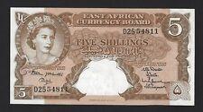 1962 - 1963 East Africa 5 Shillings, Adu Sig, P-41b Rare Original Au Scarce Qeii