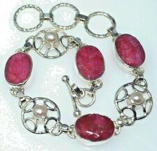 Sterling SILVER Ruby Pearl Bracelet Real red white Multi Gemstones 925 Jewellery