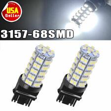2X White 3157 3156 Car Reverse Light Backup 68-SMD LED Bulb Lights 3057 3047