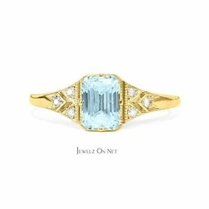 14K Gold Genuine Octagon Aquamarine Diamond Engagement Ring Fine Jewelry