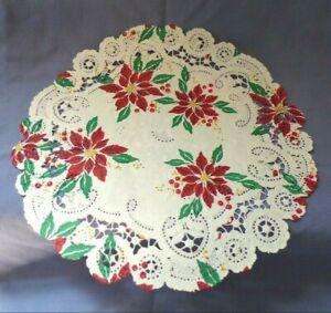 "Dollhouse Miniature 10"" Round Decorative Lace Rug White Christmas Poinsettia"