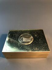 Vintage Brass Velour Lined Trinket Box with Golf Club Head on Lid.