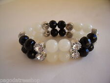 New Bracelet of White and Black Glass Beads and Diamante
