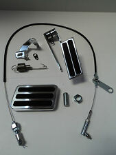 Billet Aluminum Gas Pedal/ Brake Pad / Black Throttle Cable / Bracket Spring Kit