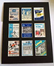 "LEEDS UNITED RETRO PROGRAMMES POSTER PICTURE MOUNTED 14"" By 11"" READY TO FRAME"