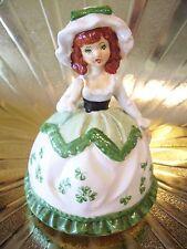 VTG March St Patricks Day Irish Shamrock Girl Green Eyes Music Box Figure
