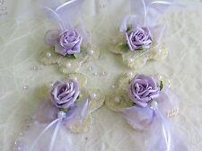 4x Sisalblüte Kommunion  Hochzeit Taufe flieder weiß Tischdeko