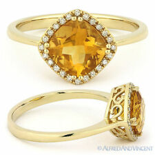 1.40ct Cushion Cut Citrine & Round Diamond Halo Engagement Ring 14k Yellow Gold