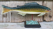 PA Dutch Hand Carved Rainbow Trout Fish Mount  Folk Art Wooden Sculpture OOAK