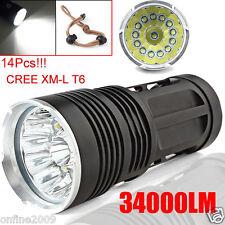 34000LM 14X CREE XM-L T6 LED 3Mode Flashlight Torch 4x18650 Hunting Light Lamp