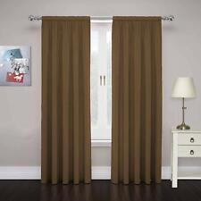 "Pair Cadenza 80"" x 63"" Double Panel Rod Pocket Privacy Curtain in Toffee"