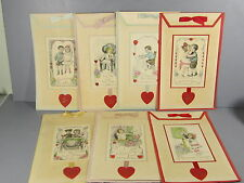 7 Unused 1920s Valentines Postcards Made Into Homemade Valentines  / Very Cute!