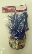 Gold & Blue Masquerade Mask With Feathers - Allegra Pk 1