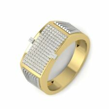 Mens Wedding Fine Diamond Ring Two Tone 14k Solid Yellow Gold Round Shape Stone
