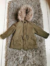 Zara Girls Khaki Parka Coat Size UK 5