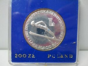 1980 Poland Olympic Ski Jumper Silver 200 Zlotych Proof Coin