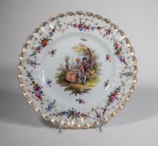 Dresden Hand Painted Dessert Plate with Flowers & Couples