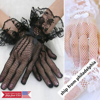Women's Wrist Wedding Driving Bow Lace Gloves Bridal Party Prom Fishnet Gloves