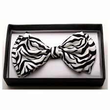 NEW UNISEX MENS WOMENS TUXEDO NECK BOW TIE  ~ BLACK & WHITE ZEBRA PRINT #BGZEBRA