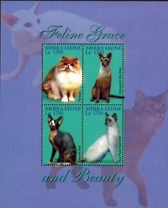 MODERN GEMS - Sierra Leone - Cats Feline Grace and Beauty - Sheet of 4 - MNH
