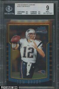 "2000 Bowman Chrome #236 Tom Brady Patriots RC Rookie BGS 9 "" LOOKS GEM """