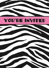 Zebra Invitations Invites Zebra Print Pink Girls Party Decoration Supply 8 ct