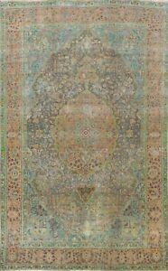 Antique Floral Hand-knotted Tebriz Area Rug Traditional Oriental Carpet 7x10 ft