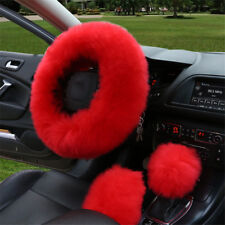 3pcs/set Fur Car Steering Wheel Cover Chinese Red Color Wool Winter Essential