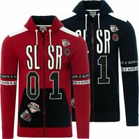 Soulstar designer Mens Full Zip Badge sports Text Print Hoodie with Pouch Pocket