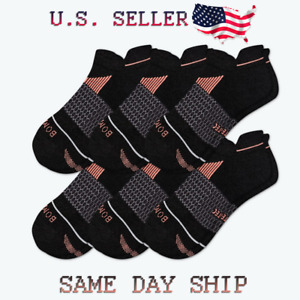 6-Pack Bombas Performance Running Merino Ankle Socks - Black - Men's Large