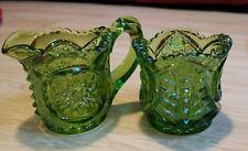 VINTAGE GLASS GREEN SUGAR & CREAMER SMALL SIZE 3 OUNCES EACH