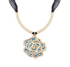 18K Gold GP Swarovski Element Crystal Large Rose Pendant Necklace Blue