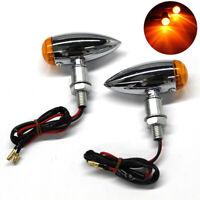 2X Chrome Motorcycle Turn Signal Lights Mini Bullet Blinker Amber Indicator Lamp
