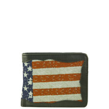 BLACK WESTERN VEGAN LEATHER AMERICAN FLAG MENS SHORT BIFOLD ID WALLET WEST WOLF