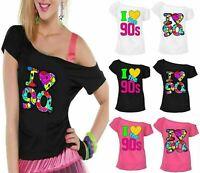 Ladies I Love The 90s T Shirt Fancy Dress Party tshirt Womens Retro Pop Star Top