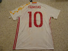 NWT Adidas Euro 2016 Spain #10 Fabregas Authentic AdiZero White Away Jersey (L)