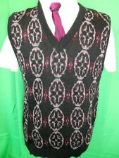 AS NEW NWT Vintage 1970s Milano Grey Black Patterned Pure Wool Knitted Vest 16 M