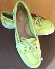 $200 Coach Rainey Signature Slip On Boat Shoes Flats Loafers Lime Green 40 9.5